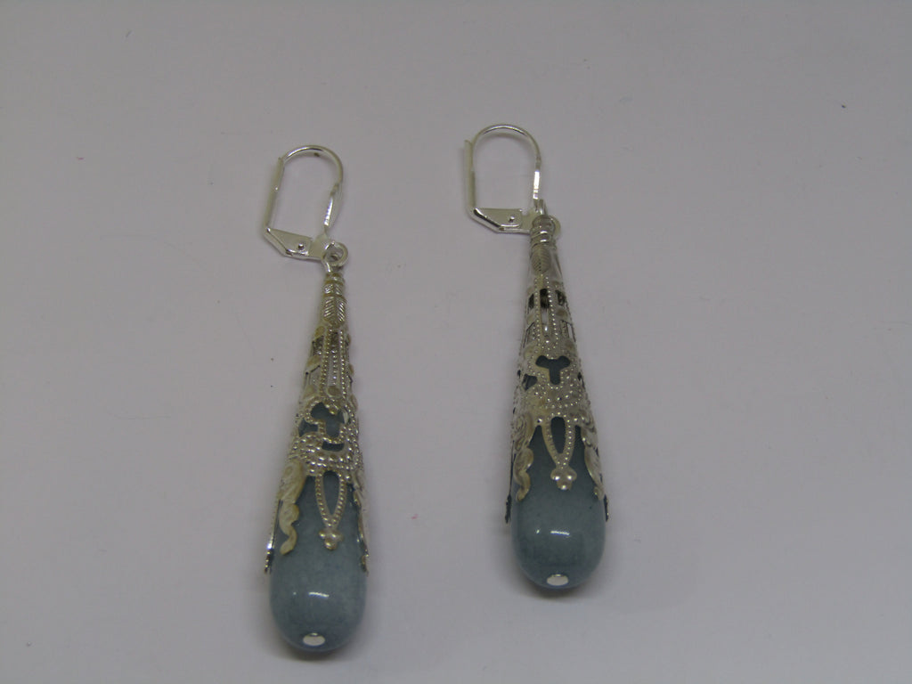 Silver Blue Stone Earrings by Jess Lelong