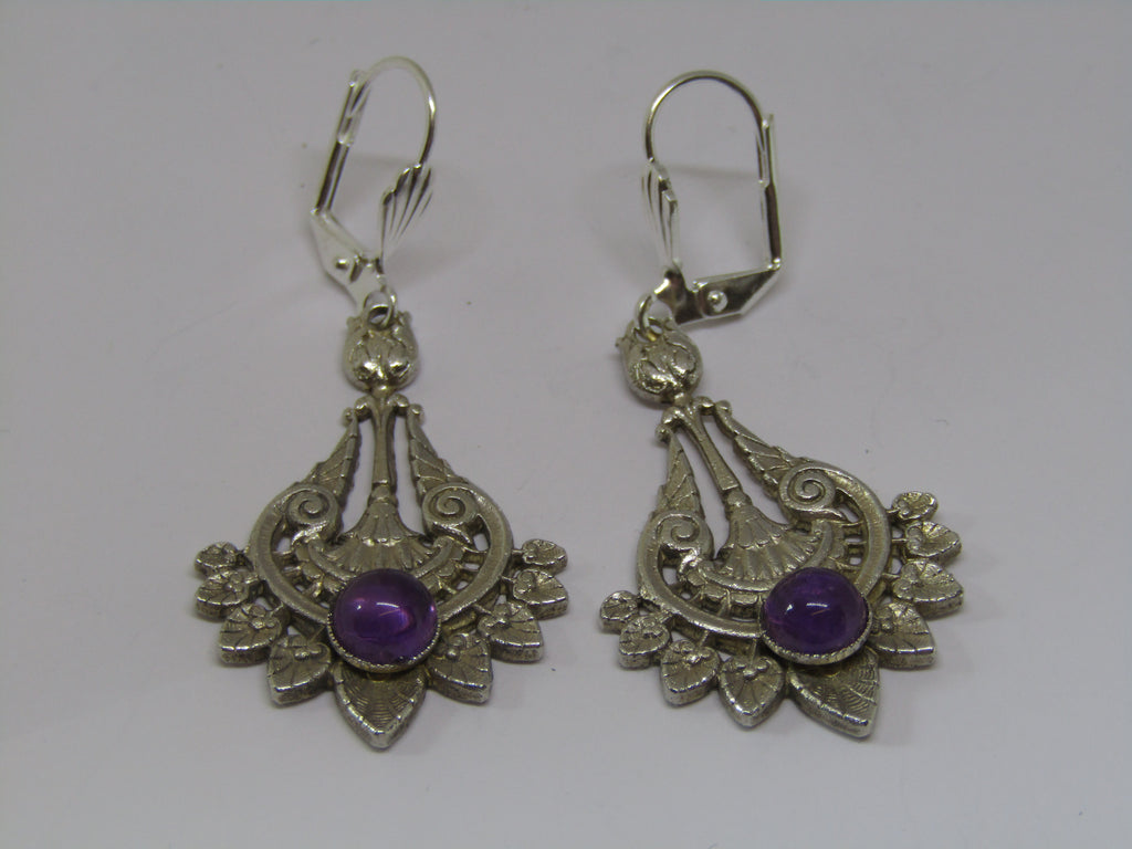 Swirl and Leaf Design Dangle Earrings with Purple Stone by Jess Lelong
