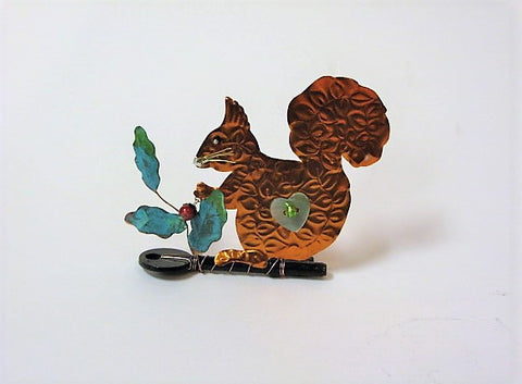 Squirrel on Key with Holly, Assemblage by Linda Lovatt