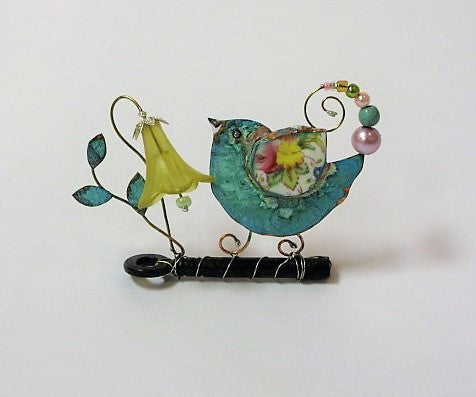 Bird on a Key with Yellow Harebell, Assemblage