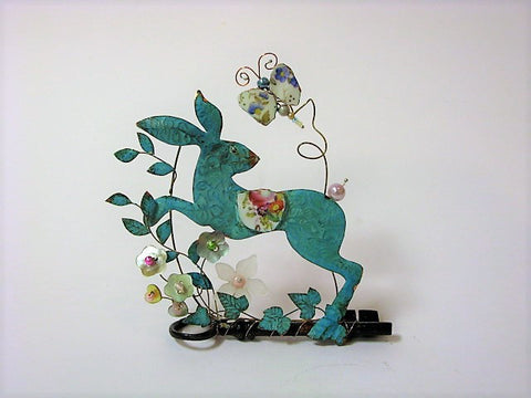 Running Hare on Key with Butterfly, Assemblage by Linda Lovatt