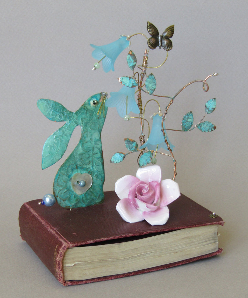 Large Hare on Book Assemblage by Linda Lovatt