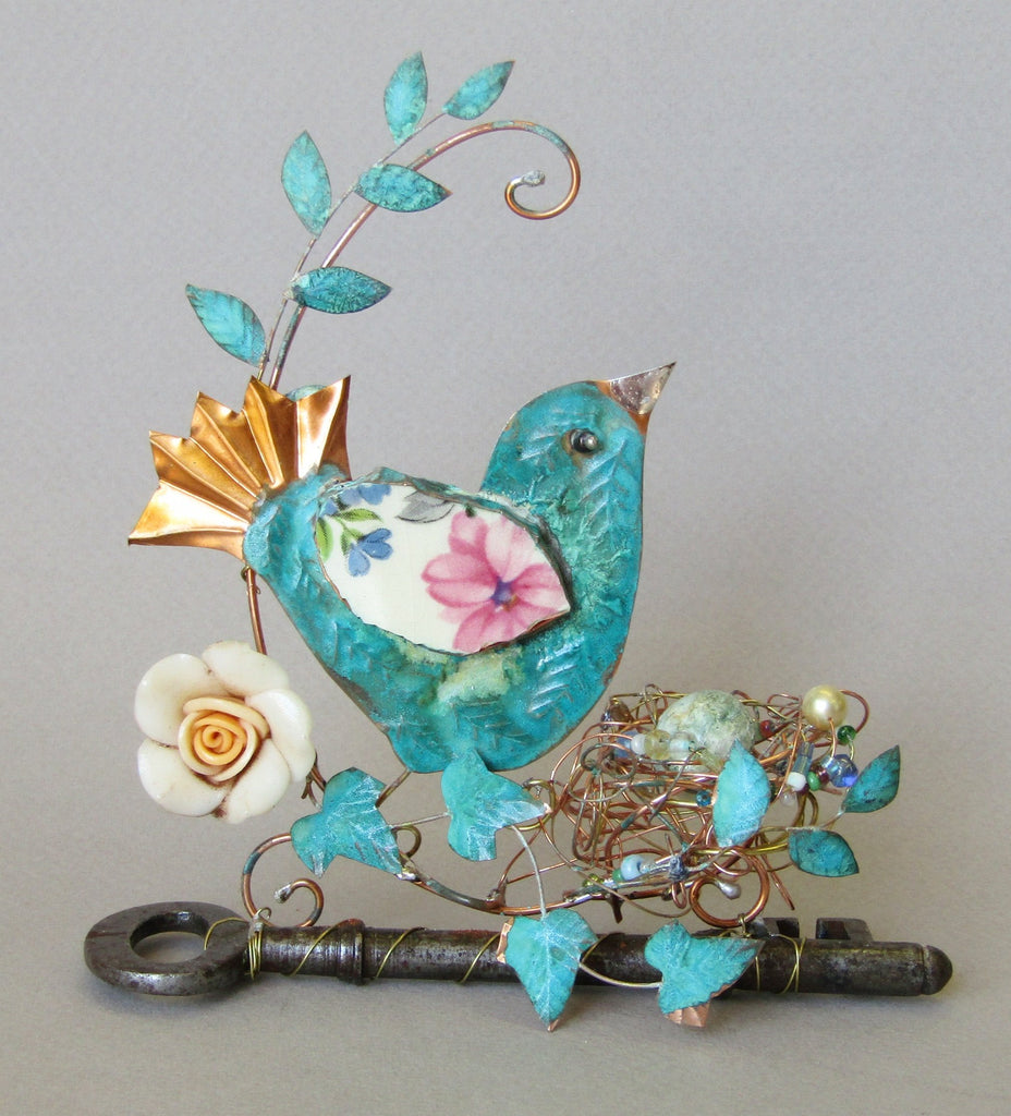 Large Bird with Egg on Key Assemblage by Linda Lovatt