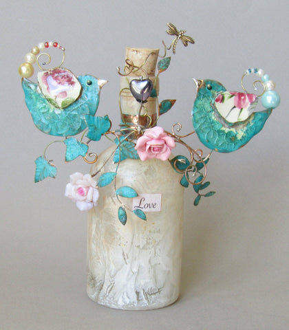 Large Love Birds Bottle Assemblage