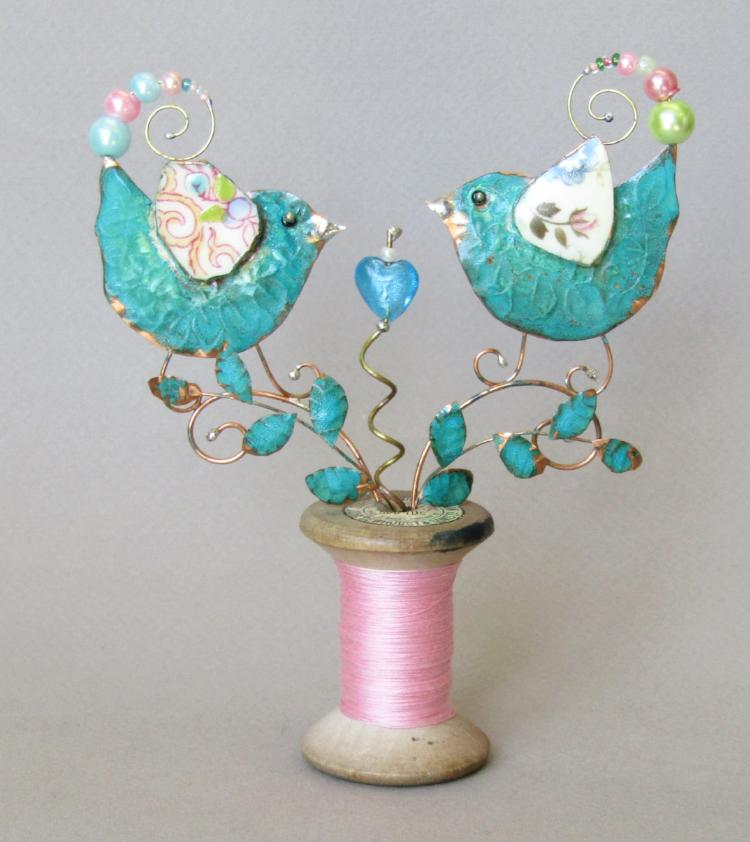 Medium Lovebirds on a Cotton Reel Assemblage by Linda Lovatt