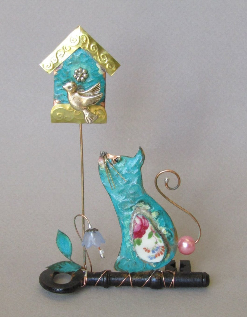 Cat and Birdhouse on a Key Assemblage by Linda Lovatt