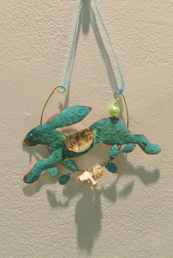 Leaping Hare, Hanging Copper Assemblage by Linda Lovatt