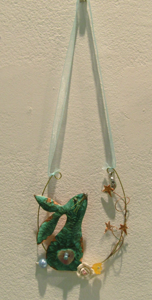 Hanging Gazing Hare Assemblage by Linda Lovatt