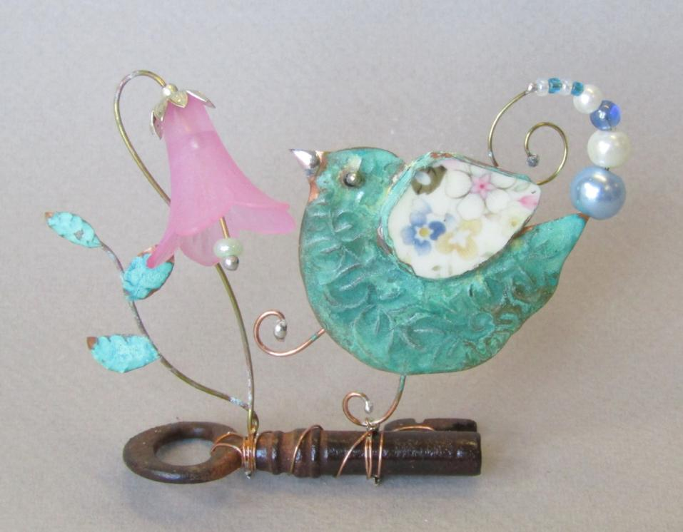 Bird on a Key with Harebell Assemblage by Linda Lovatt