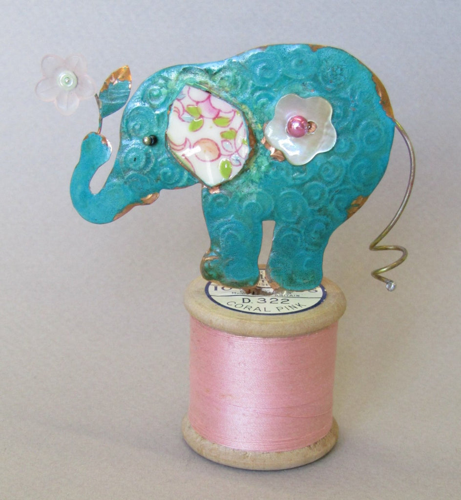 Elephant on a Cotton Reel Assemblage by Linda Lovatt