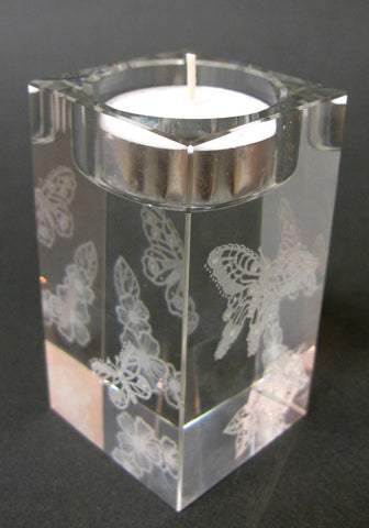 Lacy Butterflies - Hand-engraved glass t-light holder by Sue Burne