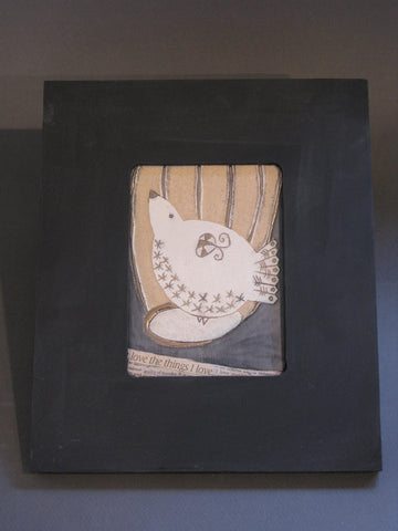 Black Framed Ceramic Tile of Bird with Collage and Gilding by Sophie Smith