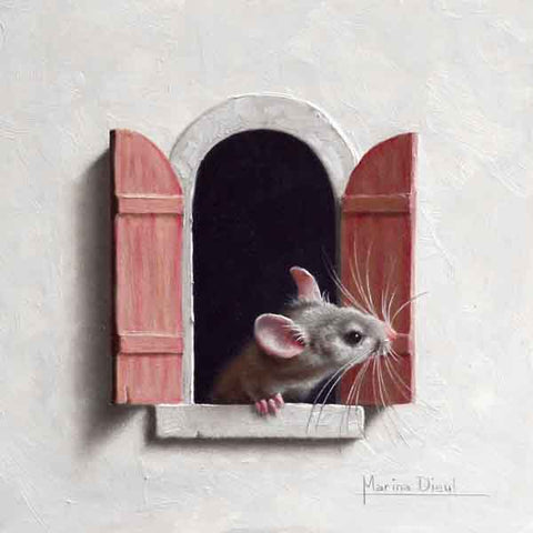 Souris a la fenetre 12 - Oil by Marina Dieul
