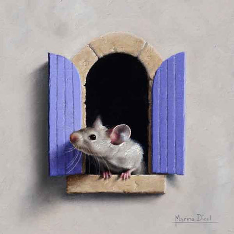 Souris à la Fenetre 11 - oil painting by Marina Dieul