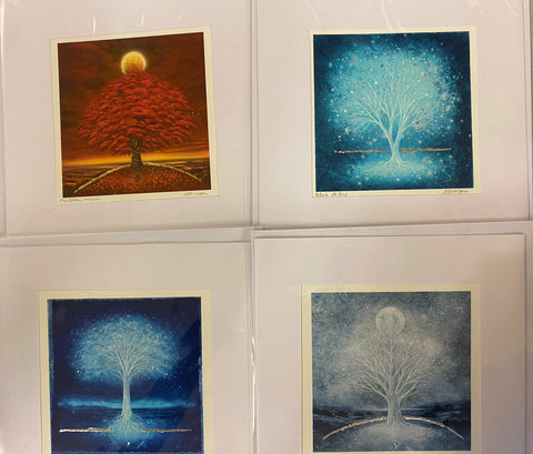 Set of 4 Square Tree Design Cards by Mark Duffin