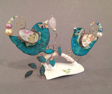 Medium Lovebirds on Cup Handle Assemblage