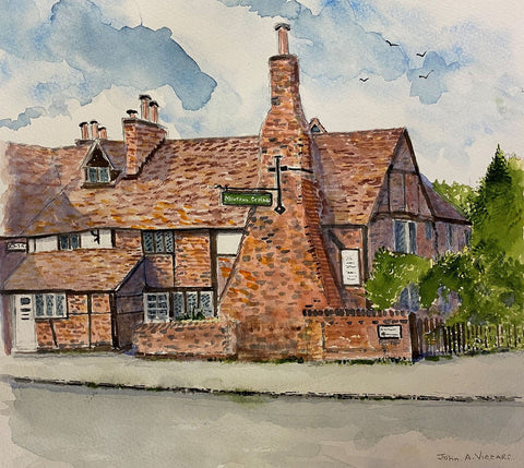 Milton's Cottage - watercolour by John A. Viccars