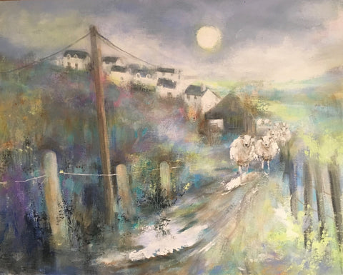 Moon Rising Over Sheep