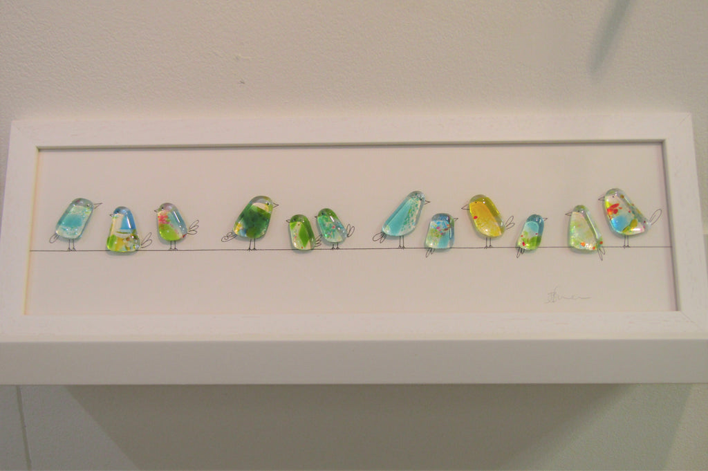 Birds on a Line - Fused Glass/Illustration by Niko Brown