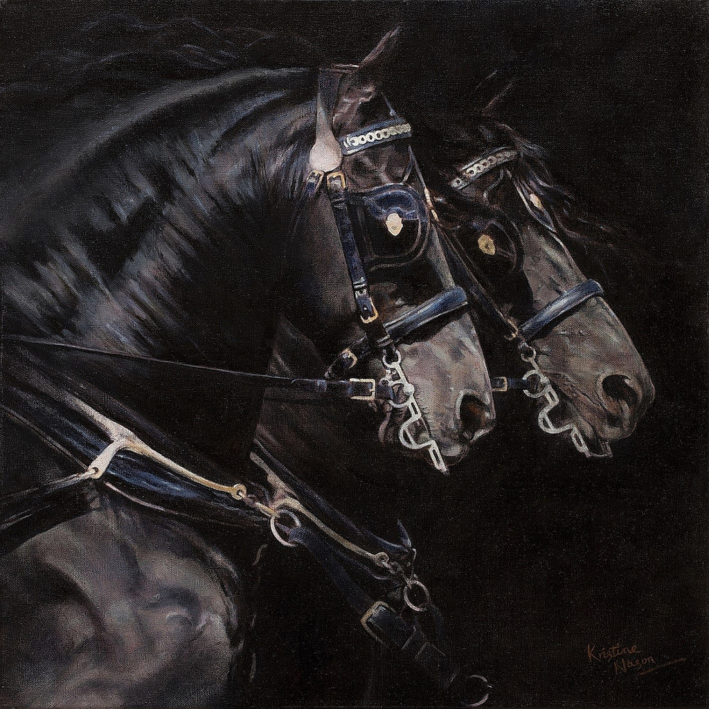 Black on Black - oil on linen by Kristine Nason