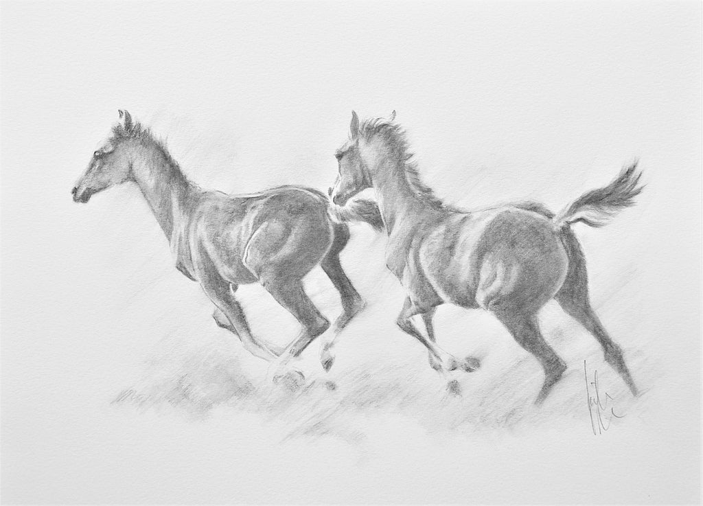 Catch Me If You Can - original pencil drawing by Kristine Nason