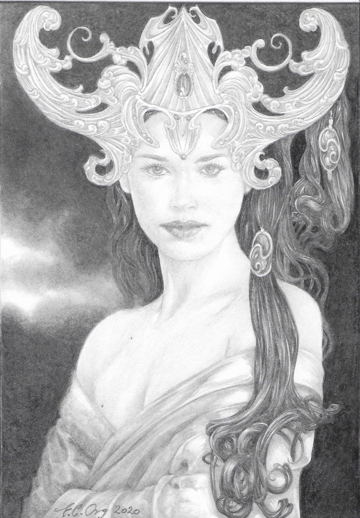 Night Goddess - original pencil drawing by Ed Org