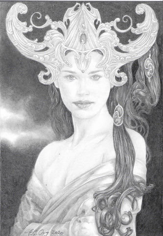 Night Goddess - Original Pencil Drawing