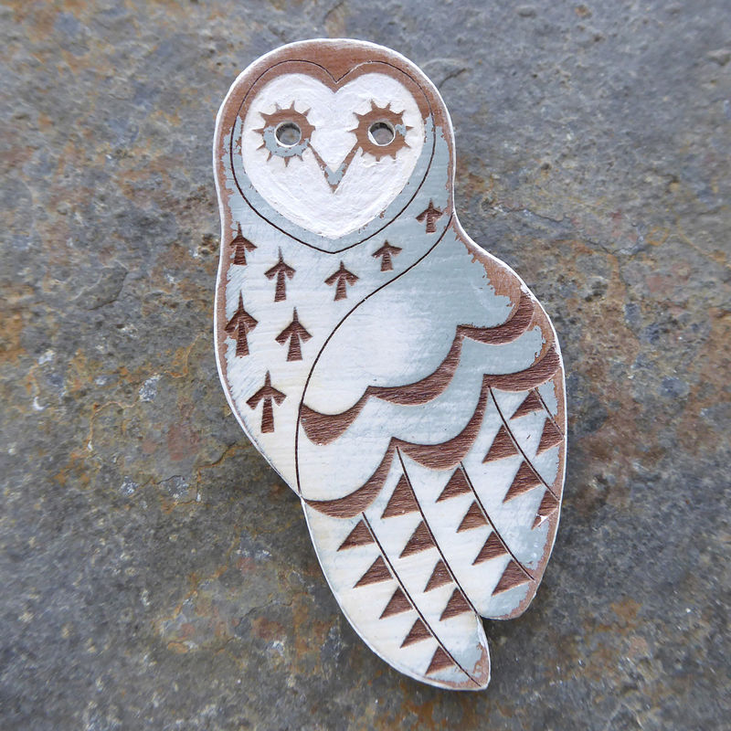 Duck Egg Owl Brooch by Sarah Kelly