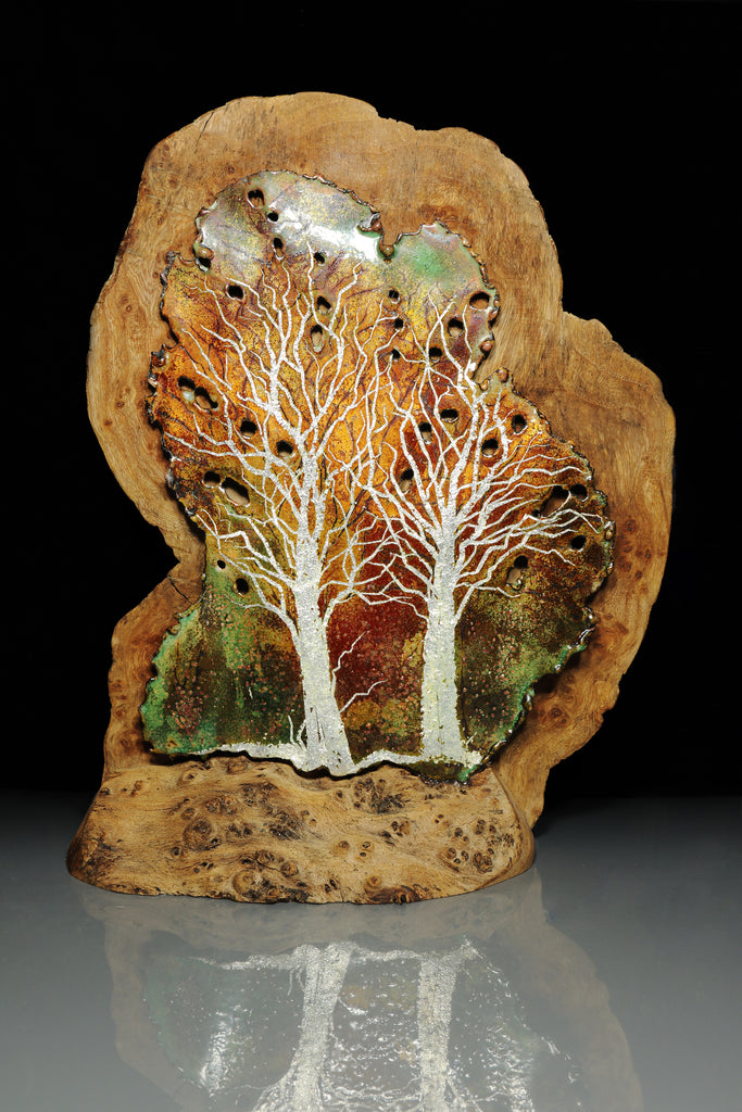 Burr Wood Enamelled Panel by Gillian Harkness