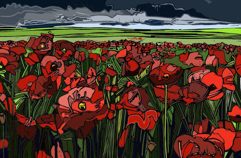 Poppies and Storm Clouds - linocut by Jenni Cator