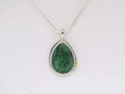 Large 'Poppy' Pendant with Emerald and gold details by Madeleine Blaine.