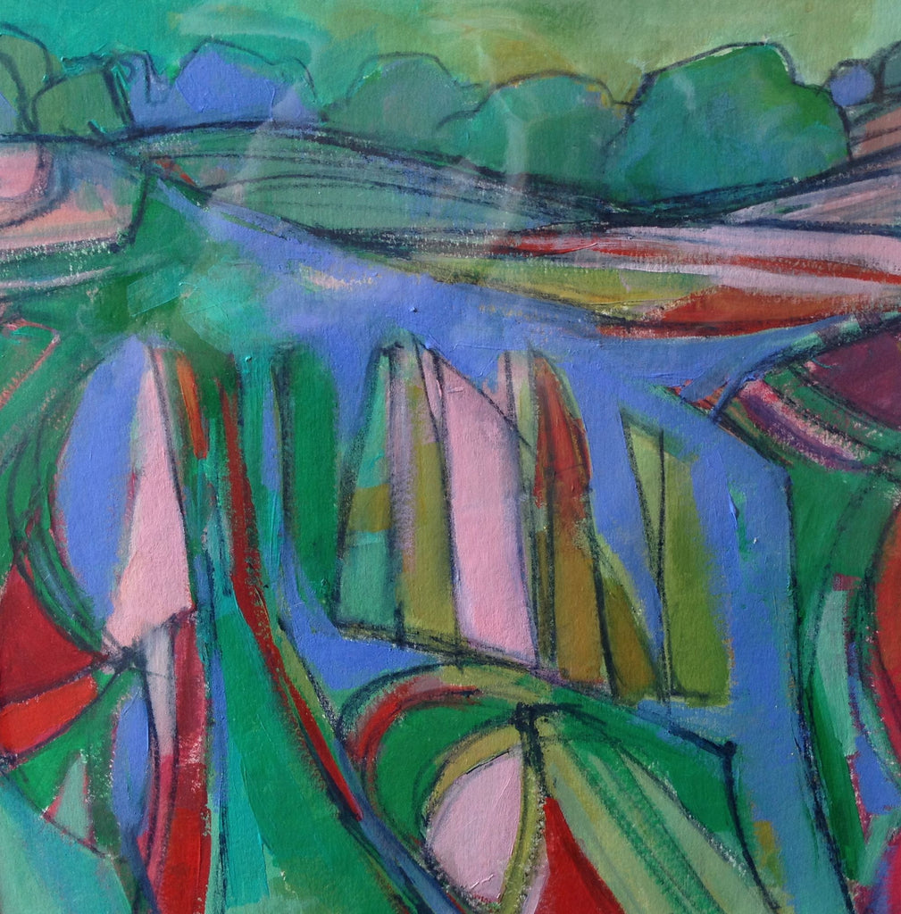 Pattern in the Landscape - Red and Green by Brenda Hurley