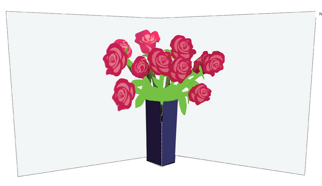 Pop-Up Greetings Card - Vase of Roses