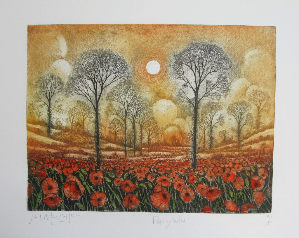 Poppy Wood, Etching by Ian MacCulloch