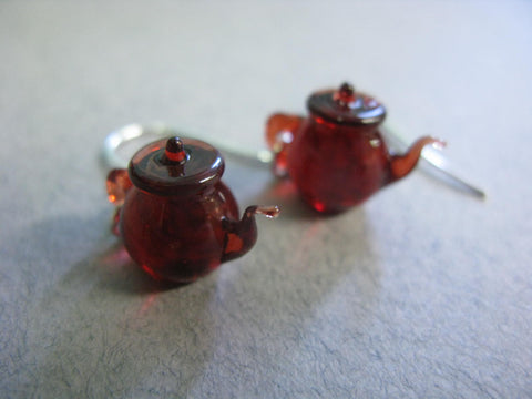 Tiny Teapot Earrings - Red