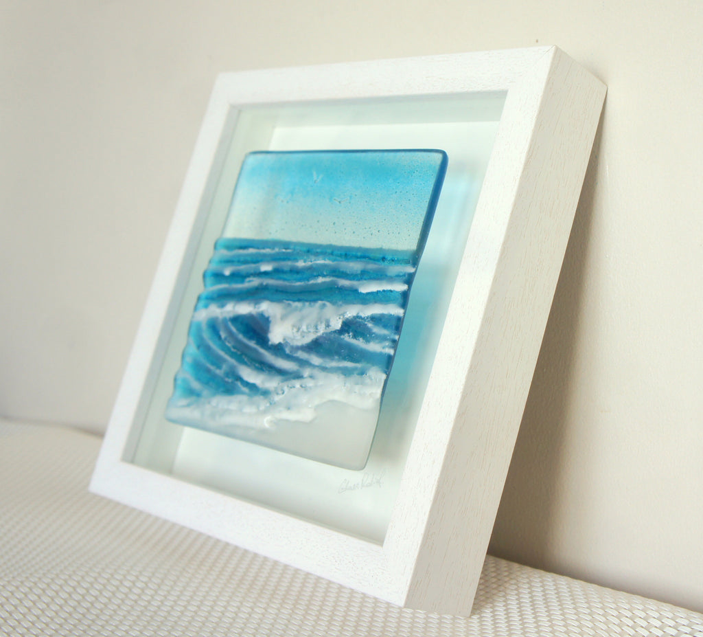 Rolling Wave in a Box - fused glass by Matthew Adkins
