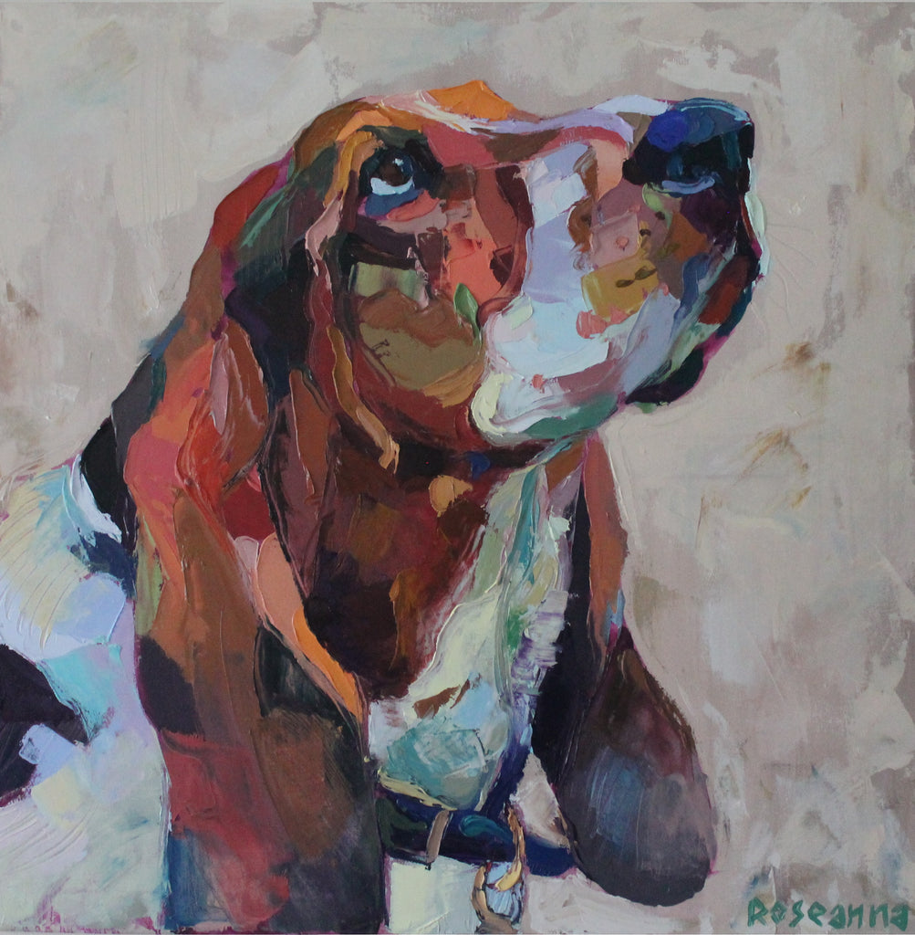 Dean (Bassett Hound) - oil on canvas by Roseanna Chetwood