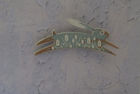 Small Painted Duck Egg Hare Brooch