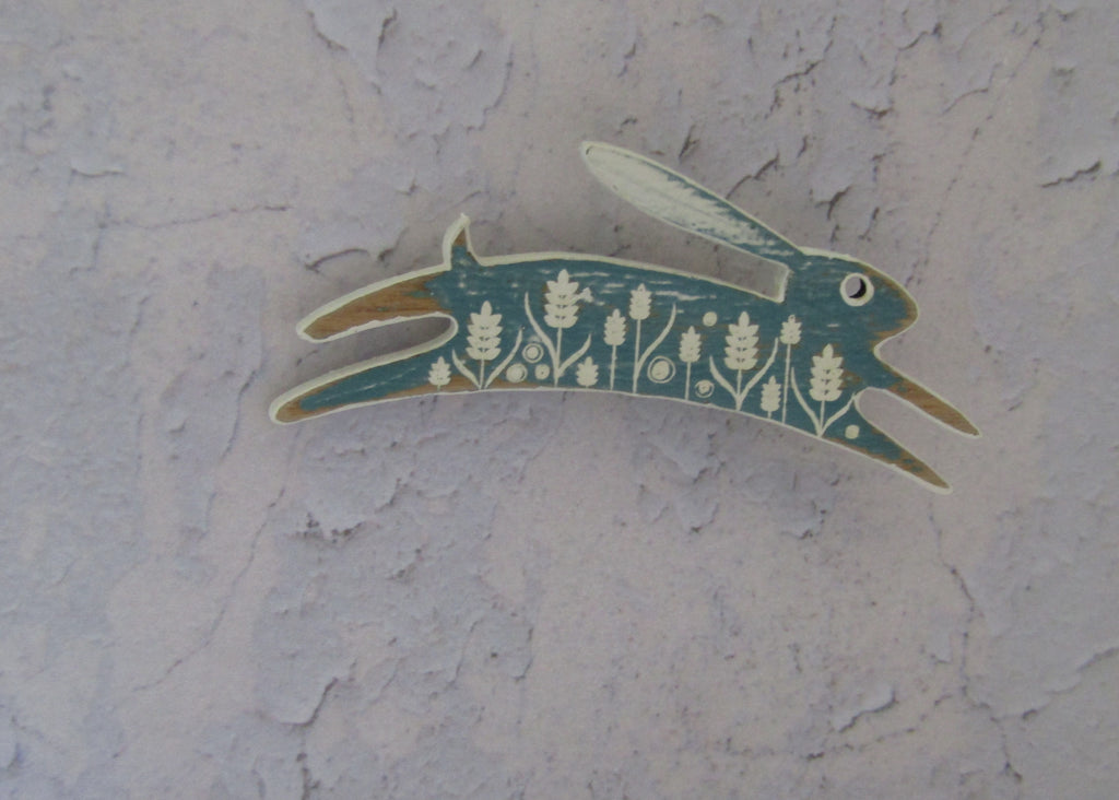Small Painted Sea Green Hare Brooch by Sarah Kelly