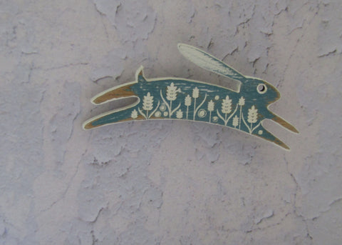 Small Painted Sea Green Hare Brooch
