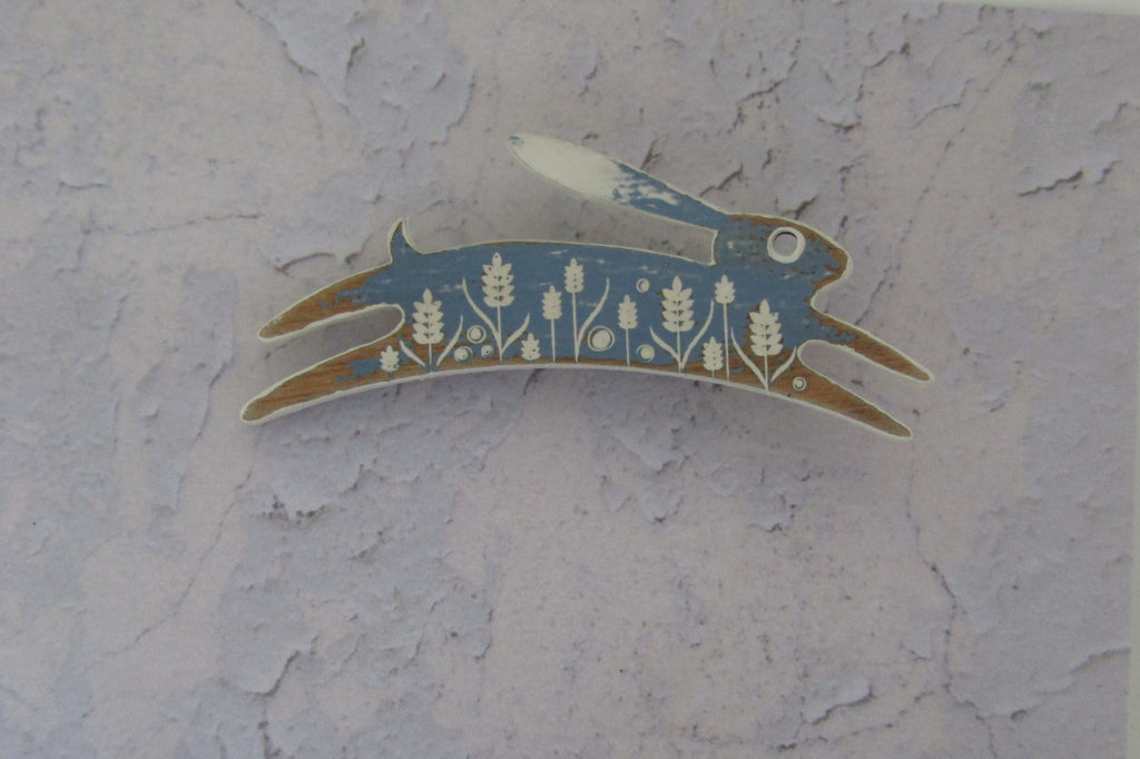 Cornflower Colour Painted Hare Brooch by Sarah Kelly