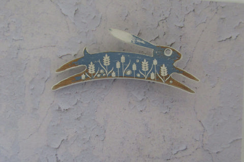 Cornflower Colour Painted Hare Brooch
