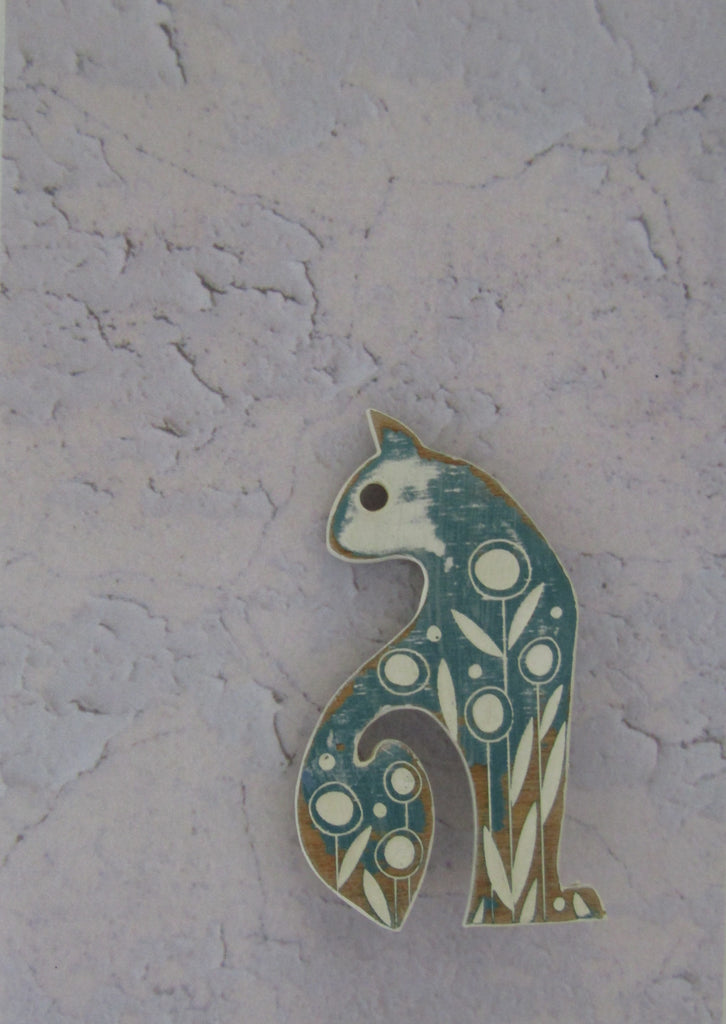 Cat Brooch with Sea Green Colouring by Sarah Kelly