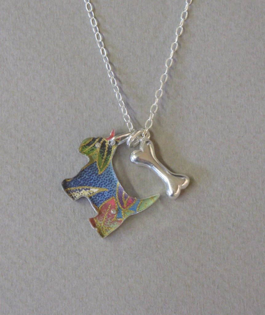 Mini Scottie Dog Pendant with Silver Bone Charm, Necklace. Reversible Design by Sophie Court