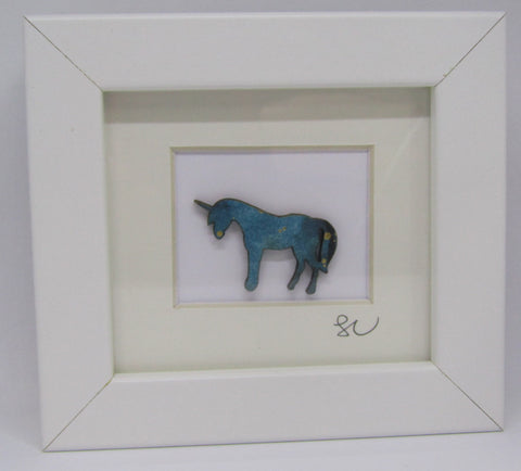 Teal Unicorn - Framed Assemblage