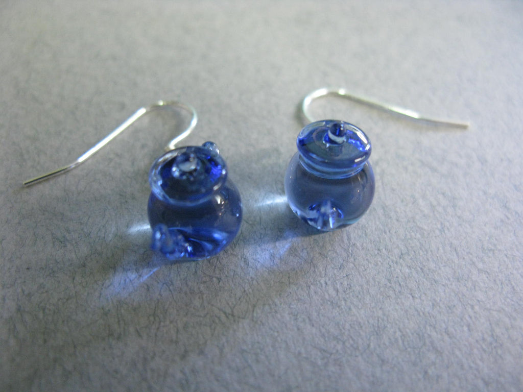 Tiny Teapot Earrings - Sapphire Blue