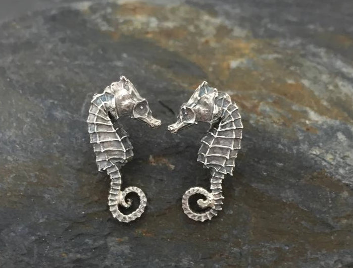 Seahorse Stud Earrings - Sterling Silver Hand-Crafted by Jesa Marshall