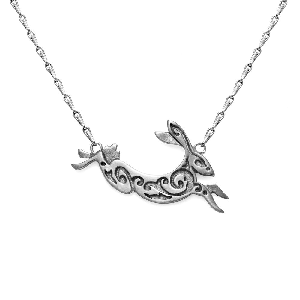 "Small Silver Hare Necklace 16"" by Julia Thompson"