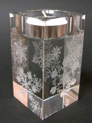 Snowflakes (S) - Hand-engraved glass t-light holder by Sue Burne