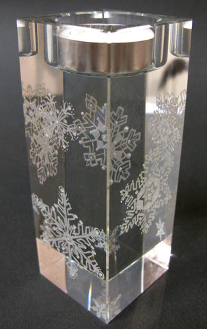 Snowflakes (T) - Hand-engraved glass t-light holder by Sue Burne